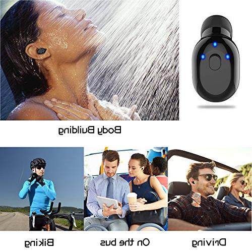 Waterproof Bluetooth Earbud, Wireless Earbud,Car Headset Invisible with 6-Hr Phone Earpiece for iPhone and Android Smart