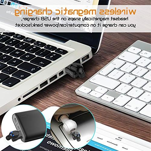 Waterproof Bluetooth Earbud, Wireless Headset Invisible Headphone with 6-Hr Time Cell Phone Bluetooth for iPhone iPad and Android Smart Phones