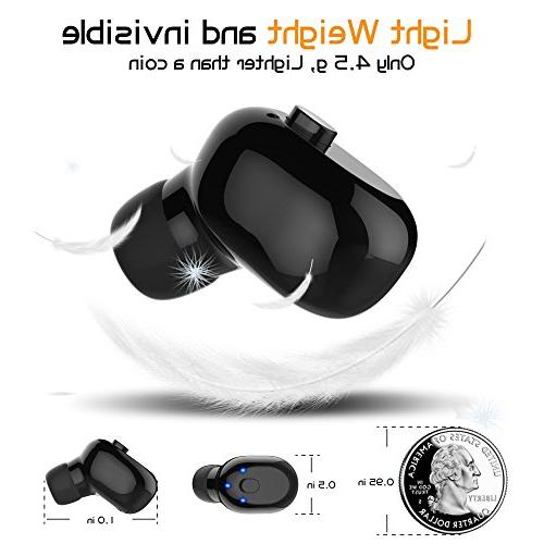 Waterproof Bluetooth Mini Wireless Bluetooth Invisible Headphone 6-Hr Phone for iPhone Smart Phones