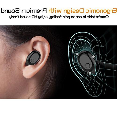 Wireless Bluetooth Invisible 6-Hr Phone Bluetooth Earpiece for iPhone Smart Phones