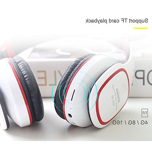 Kobwa Headphones, Foldable Portable Bass Headset Mic, Volume Control, MP3 Player, FM Wired Earphone for PC Smartphone