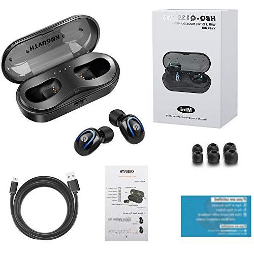 Wireless Earbuds, Bluetooth Headphones 5.0 Stereo Headset Built-in Invisible Ear Sport Sweatproof Case Compatible with