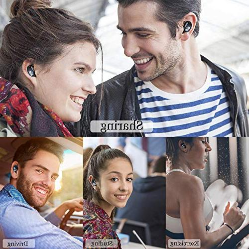 Wireless KNGUVTH Headphones 5.0 Stereo Invisible In Ear Sweatproof Earphones Case Compatible Samsung