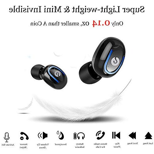 Wireless Bluetooth Headphones 5.0 Stereo Headset Invisible In Sweatproof Earphones Charging Case Compatible with iPhone Samsung Android
