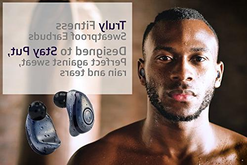 Bluephonic Earbuds - Latest Bluetooth Mini in 3D Stereo Sound, Play Time, Earphones Headset, Built Microphone & Dual Speakers for Calls