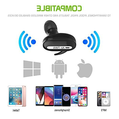 Wireless Stereo Earbuds Black Multifunction Button Voice Samsung Galaxy 9