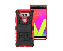 LG V20 Stand Case, HLCT Rugged Shock Proof Dual-Layer PC and