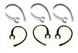 Set of 6 Replacement Bluetooth Ear Loop Hook Clip Clear/Blac