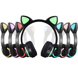 Wireless Bluetooth Cat Ear Headphone with 7 Colors LED Light