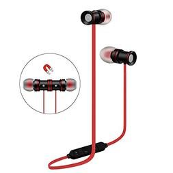 Wireless Stereo Earphones Red Sport Magnetic Clasp Compatibl