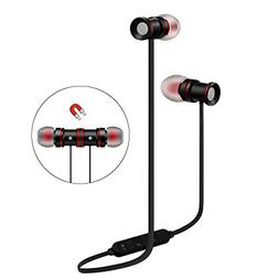 Wireless Stereo Earphones For OnePlus 6 Black Sport Magnetic